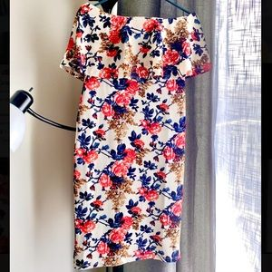 Floral Bodycon Popover Strapless Dress